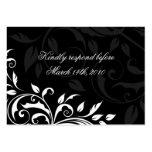 Elegante Schwarzweiss-Hochzeits-Antwort-Karten Visitenkarten