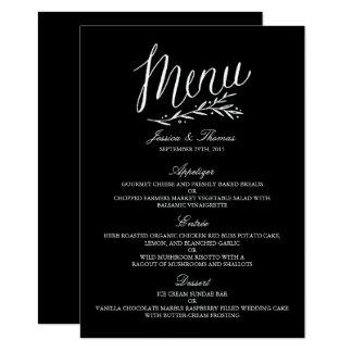 Elegante Schwarzweiss-Hochzeits-Menü-Vorlagen Karte