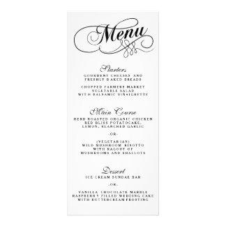 Elegante Schwarzweiss-Hochzeits-Menü-Vorlagen Werbekarten