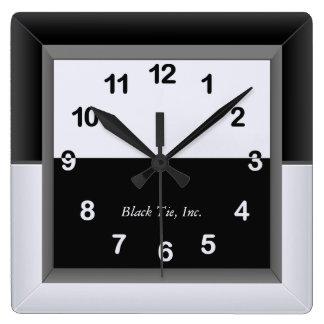 Elegante Schwarzweiss-Uhr Quadratische Wanduhr