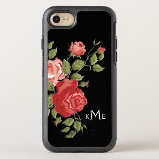 Elegante Sculpted rosa Rosen und Monogramm OtterBox Symmetry iPhone 8/7 Hülle