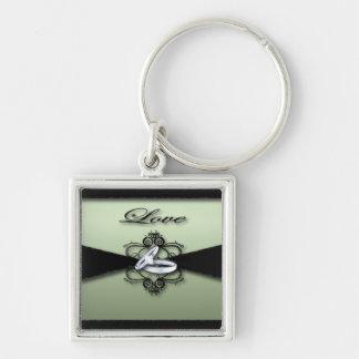 elegante seafoam Grünminze und schwarze Hochzeit Schlüsselanhänger