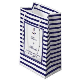 Elegante Seehochzeits-Marine-Streifen Kleine Geschenktüte