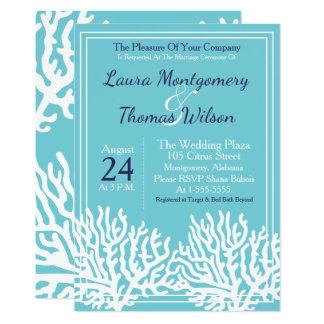 Elegante Seestrand-weißes Seekorallenrote Hochzeit Karte