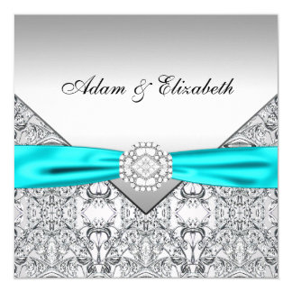 Elegante silberne aquamarine blaue karte