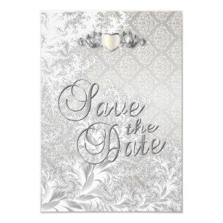 Elegante silberne Damast-Art-Hochzeit 8,9 X 12,7 Cm Einladungskarte