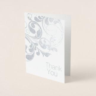 Elegante silberne Folie danken Ihnen zu kardieren Folienkarte