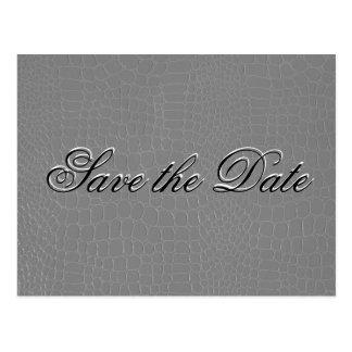Elegante silberne Schlangen-Haut Save the Date Postkarte