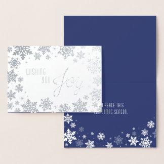 Elegante silberne Schneeflocke-Weihnachtskarte Folienkarte