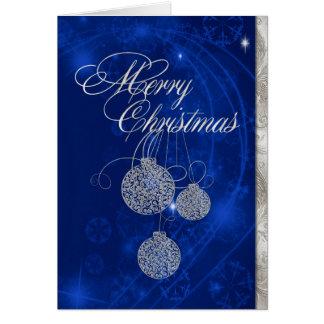 Elegante silberne Weihnachtsball-Gruß-Karte Karte