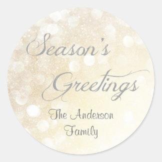 Elegante silberne Weihnachtsjahreszeit-Grüße - Runder Aufkleber