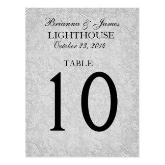 Elegante silbernes Grau-Wedding Tischnummer-Karte Postkarte