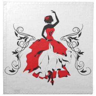 Elegante Silhouettefrau in der Stoffserviette