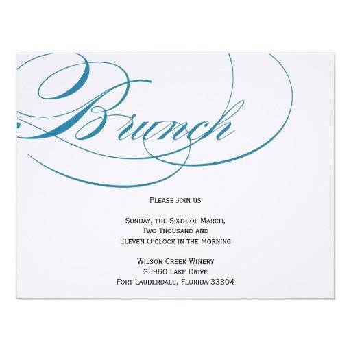 Elegante Skript-Brunch-Einladung - Blau 10,8 X 14 Cm Einladungskarte ...