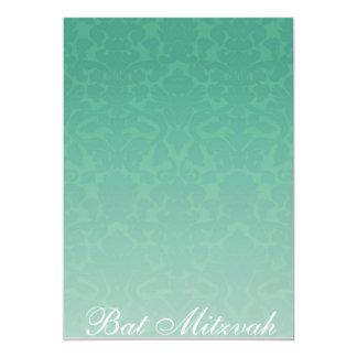 Elegante Smaragddamast-Schläger Mitzvah Einladung