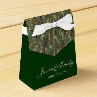 Elegante Smaragdgrün-und Goldpfau-Hochzeit Geschenkschachtel