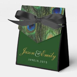 Elegante Smaragdgrün-und Goldpfau-Hochzeit Geschenkschachteln