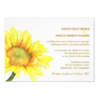 Elegante Sonnenblume-lässige Hochzeit im 12,7 X 17,8 Cm Einladungskarte
