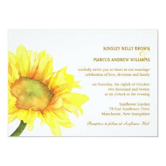 Elegante Sonnenblume-lässige Hochzeit im Freien 12,7 X 17,8 Cm Einladungskarte