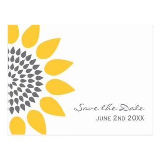 Elegante Sonnenblume Save the Date Postkarten