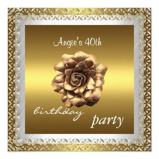 Elegante Spitze-weißes GoldRose der Einladungs-40. Quadratische 13,3 Cm Einladungskarte