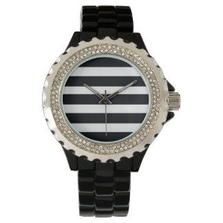 Elegante sportliche Rhinestone-Uhr-schwarze u. Armbanduhr