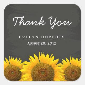 Elegante Tafel-Gelb-Sonnenblumen danken Ihnen Quadratischer Aufkleber