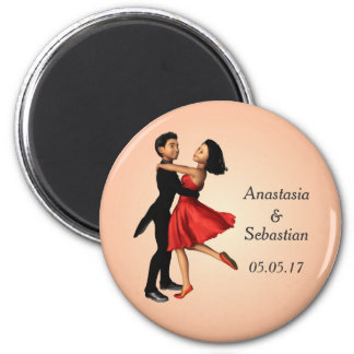 Elegante Tänzer: Rotes Silk Kleid (personalisiert) Runder Magnet 5,1 Cm