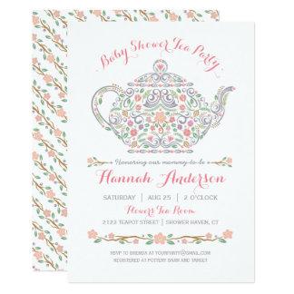 Elegante Tee-Party-Mädchen-Baby-Dusche • Teekanne 12,7 X 17,8 Cm Einladungskarte