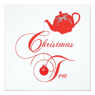 Elegante Teekanne-Weihnachtstee-Party Einladung