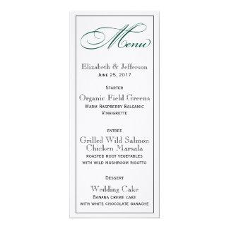 Elegante tiefgrüne Hochzeits-Menü-Karte 10,2 X 23,5 Cm Einladungskarte