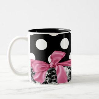 Elegante Tupfen, Bogen, Spitze-Schwarz, weiß Zweifarbige Tasse