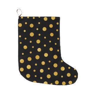 Elegante Tupfen - schwarzes Gold Großer Weihnachtsstrumpf