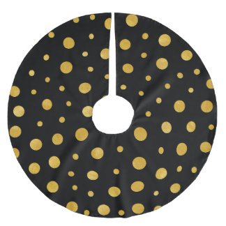 Elegante Tupfen - schwarzes Gold Polyester Weihnachtsbaumdecke