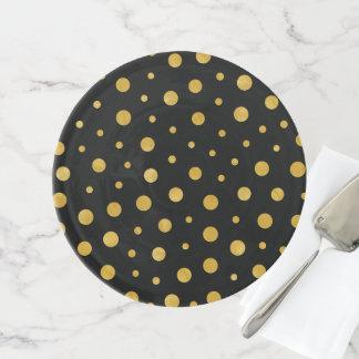 Elegante Tupfen - schwarzes Gold Tortenplatte