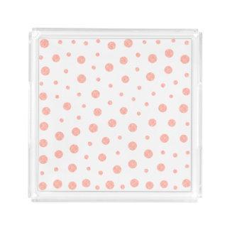Elegante Tupfen - weiches rosa Goldweiß Acryl Tablett
