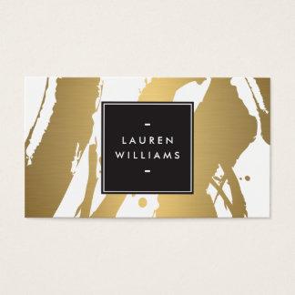 Elegante und abstrakte GoldBrushstrokes II Visitenkarte