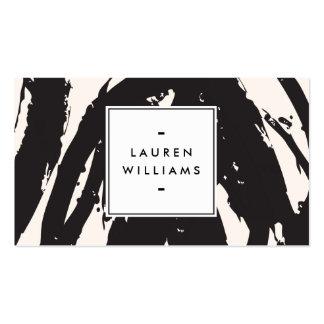 Elegante und abstrakte schwarze Brushstrokes Visitenkarten Vorlage