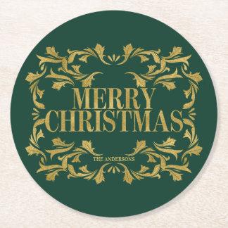 Elegante verzierte Goldfrohe Weihnacht-Untersetzer Runder Pappuntersetzer