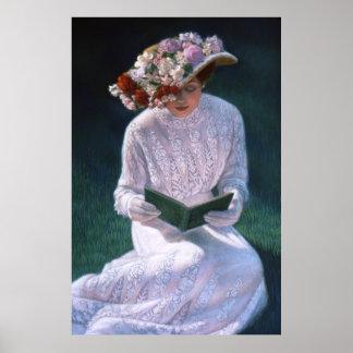 Elegante viktorianische Dame, Lesung, Dekorkunstpl Plakat