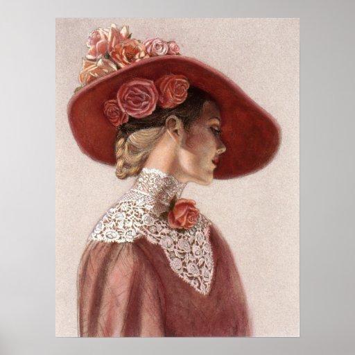 Elegante viktorianische Dame, Rosen-Hut-Dekor-Kuns Plakate