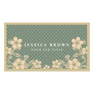 Elegante Vintage Blumen- u. Polkapunkte Visitenkarten