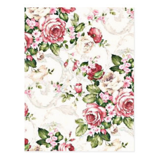 Elegante Vintage BlumenHütten-Creme-Rose Postkarte