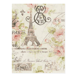 Elegante Vintage girly Blumenparis-Mode Postkarte