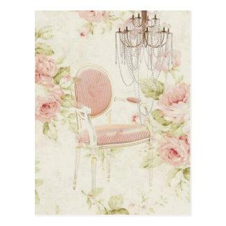 Elegante Vintage girly Blumenparis-Mode Postkarte