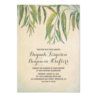 Elegante Vintage Hochzeit des Gummibaum-Blätter 12,7 X 17,8 Cm Einladungskarte