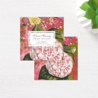 Elegante Vintage Kamelieblumenchic-Quadrat Quadratische Visitenkarte