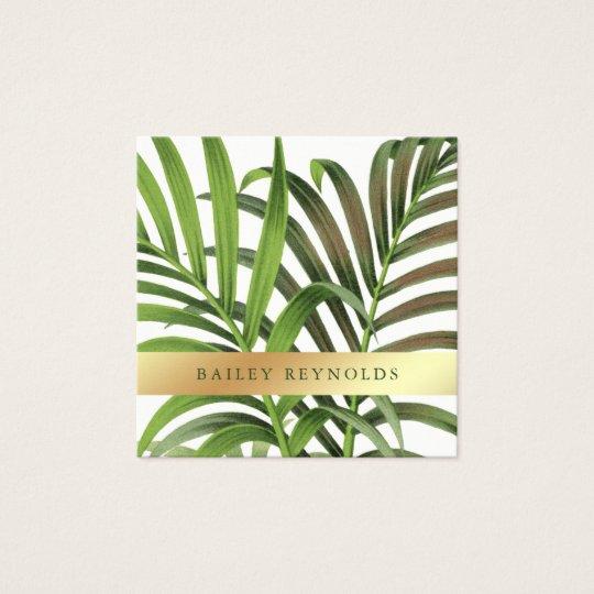 Elegante Vintage Palmblätter mit Imitat-Gold Quadratische Visitenkarte