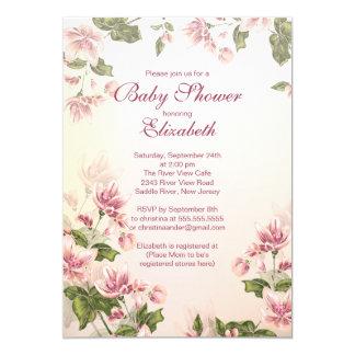 Elegante Vintage rosa Blüten-Blumenbaby-Dusche 12,7 X 17,8 Cm Einladungskarte