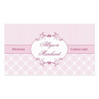 Elegante Vintage rosa weiße Streifen des Damast-#2 Visitenkarten Vorlage